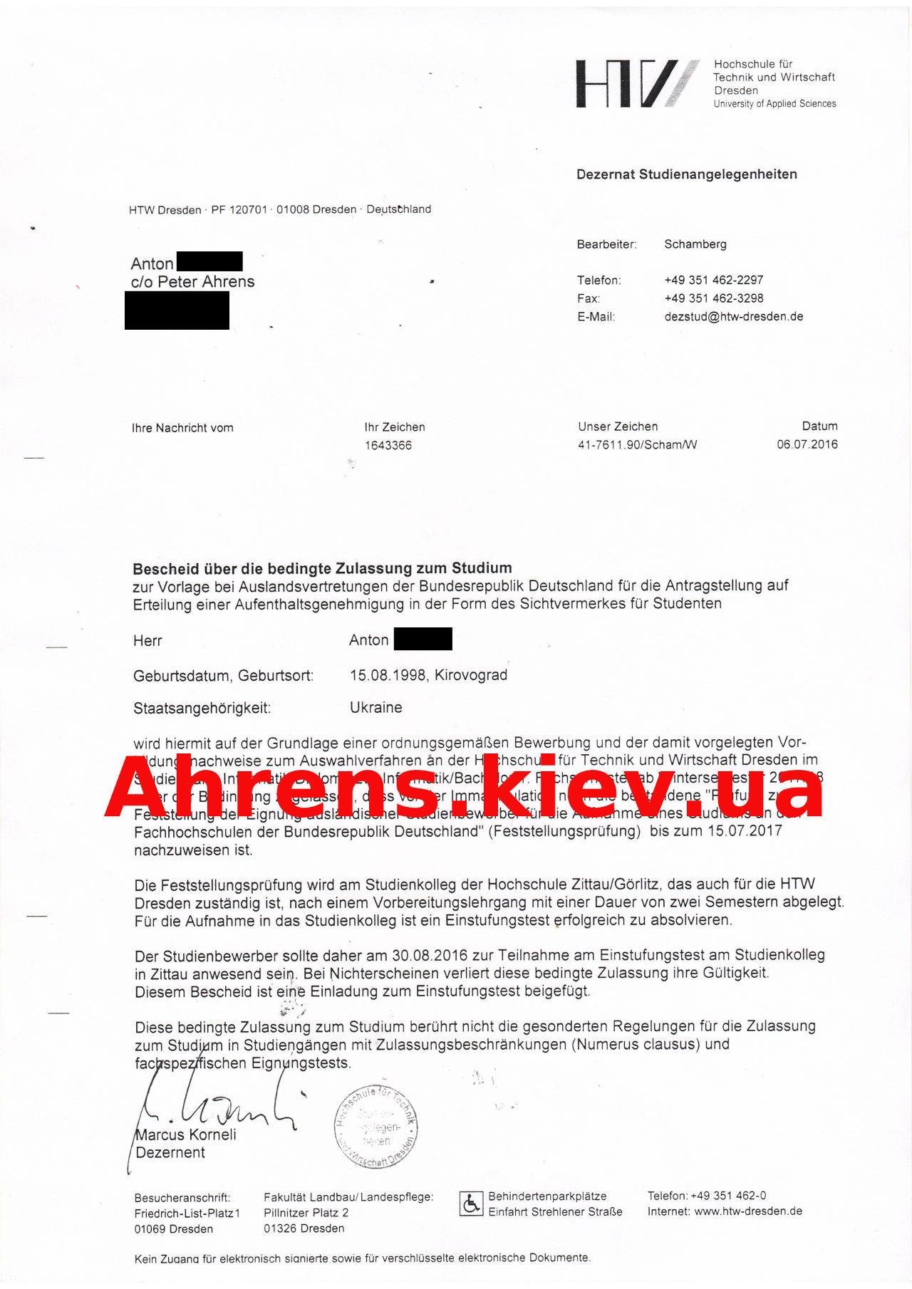 Zulassungsbescheide für Hochschulen in Deutschland - Studienkollegs ...